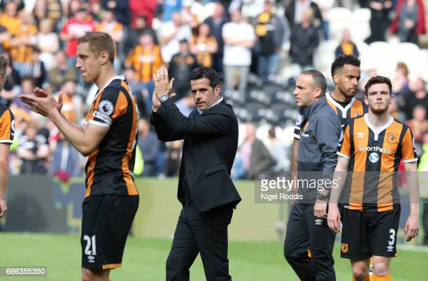 Marco Silva manager of Hull City reacts with his players after the Premier League match between Hull City and Tottenham Hotspur at KC Stadium on May...
