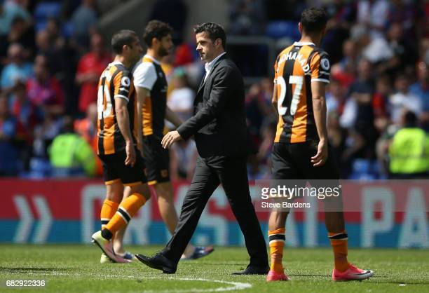 Marco Silva Manager of Hull City walks off the pitch looking dejected after being relegated to the Championship after the Premier League match...