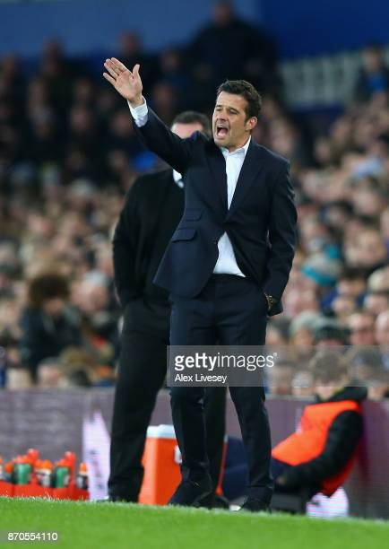 Marco Silva Manager of Watford gives his team instructions during the Premier League match between Everton and Watford at Goodison Park on November 5...