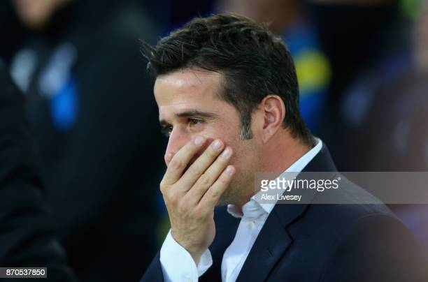 Marco Silva Manager of Watford looks on prior to the Premier League match between Everton and Watford at Goodison Park on November 5 2017 in...