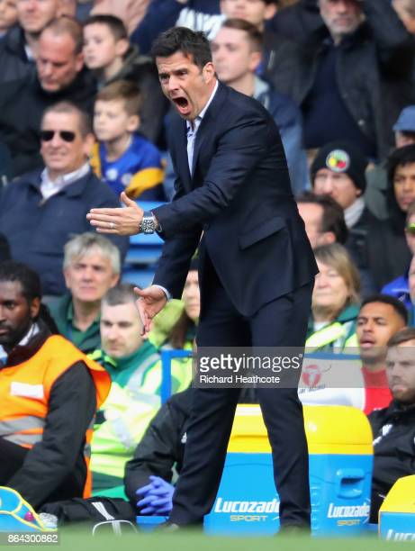 Marco Silva Manager of Watford reacts during the Premier League match between Chelsea and Watford at Stamford Bridge on October 21 2017 in London...
