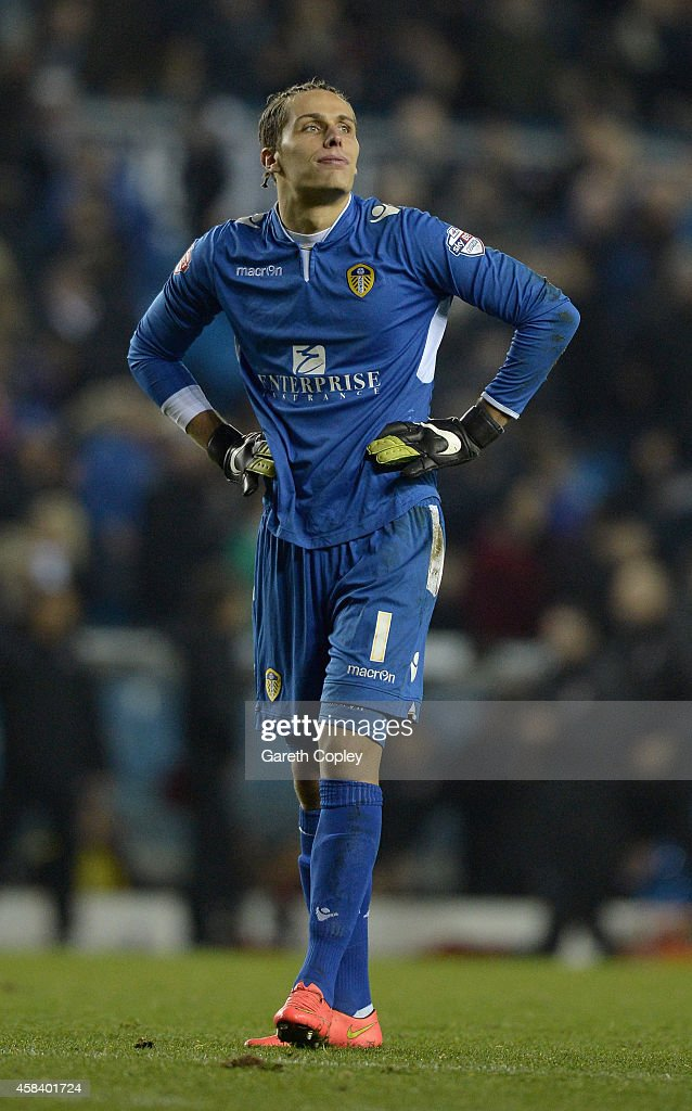 Marco Silvestri of Leeds United reacts after losing the Sky Bet Championship match between Leeds United and Charlton Athletic at Elland Road on November 4, 2014 in Leeds, England.