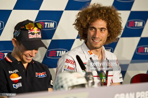 Marco Simoncelli of Italy and San Carlo Honda Gresini during the press conference at the end of the qualifying practice of the MotoGP of Italy at...