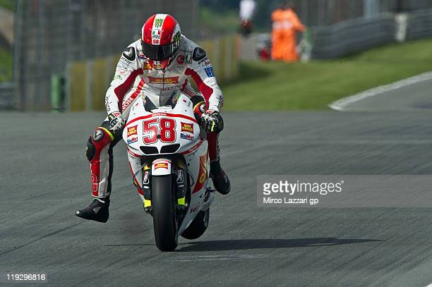 Marco Simoncelli of Italy and San Carlo Honda Gresini heads down a straight during the MotoGP WU of the MotoGP of Germany at Sachsenring Circuit on...
