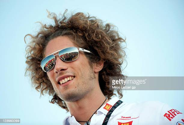 Marco Simoncelli of Italy and San Carlo Honda Gresini looks on during the event 'Riders For Health' during the Red Bull Indianapolis GP at...