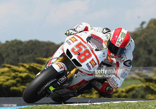 Marco Simoncelli of Italy rides the San Carlo Honda Gresini Honda during practice for the Australian MotoGP which is round 16 of the MotoGP World...