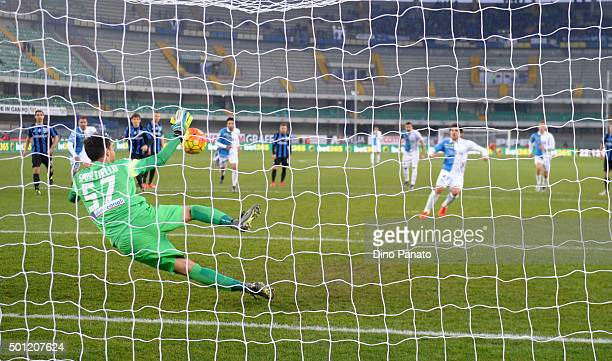 Marco Sportello goalkeeper of Atalanta FC saves a penalty from Alberto Paloschi of Chievo Verona during the Serie A match betweeen AC Chievo Verona...
