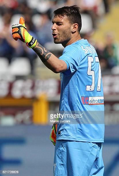 Marco Sportiello of Atalanta BC gestures during the Serie A match between Torino FC and Atalanta BC at Stadio Olimpico di Torino on April 10 2016 in...