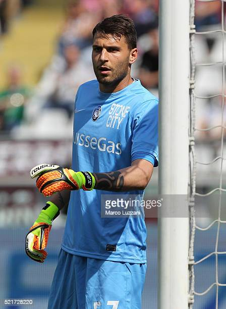 Marco Sportiello of Atalanta BC looks on during the Serie A match between Torino FC and Atalanta BC at Stadio Olimpico di Torino on April 10 2016 in...