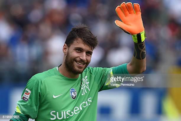 Marco Sportiello of Atalanta BC salutes during the Serie A match between Atalanta BC and AC Milan at Stadio Atleti Azzurri d'Italia on April 3 2016...
