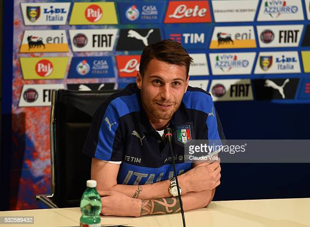 Marco Sportiello of Italy speaks to the media during a press conference at the club's training ground at Coverciano on May 19 2016 in Florence Italy