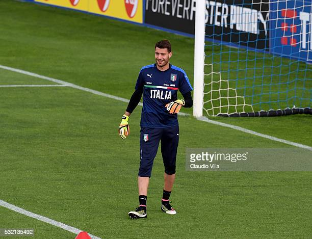 Marco Sportiello smiles during the Italy training session at the club's training ground at Coverciano on May 18 2016 in Florence Italy