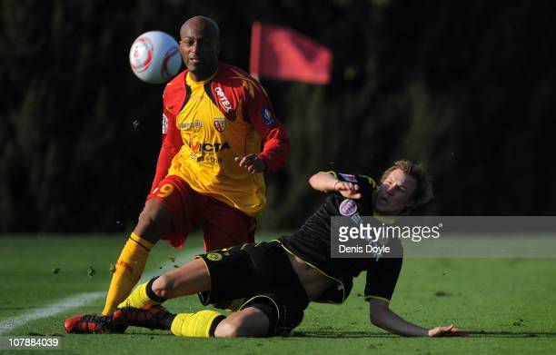 Marco Stiepermann of Dortmund battles for the ball with a player of Lens during the friendly match between Borussia Dortmund and Lens at the Jerez...