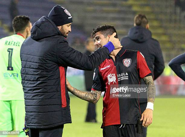 Marco Storari and Diego Farias of Cagliari at the end of the Serie A match between Cagliari Calcio and US Sassuolo at Stadio Sant'Elia on December 22...