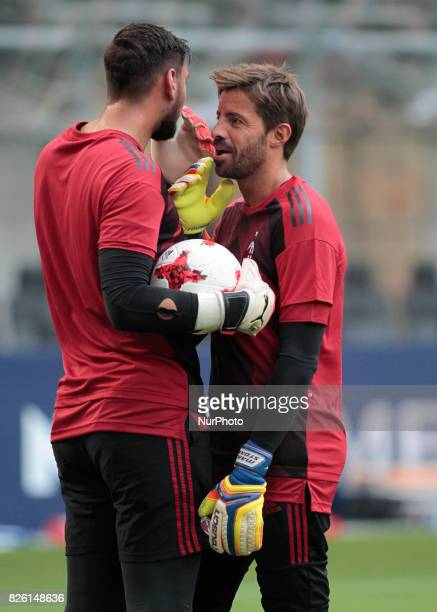Marco Storari and Gianluigi Donnarumma anduring the preliminaries of Europa League 2017/2018 match between Milan v Craiova in Milan on august 3 2017
