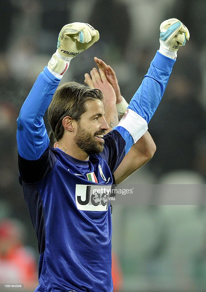 <a gi-track='captionPersonalityLinkClicked' href=/galleries/search?phrase=Marco+Storari&family=editorial&specificpeople=2144477 ng-click='$event.stopPropagation()'>Marco Storari</a> of Juventus FC celebrates victory at the end the TIM cup match between Juventus FC and AC Milan at Juventus Arena on January 9, 2013 in Turin, Italy.