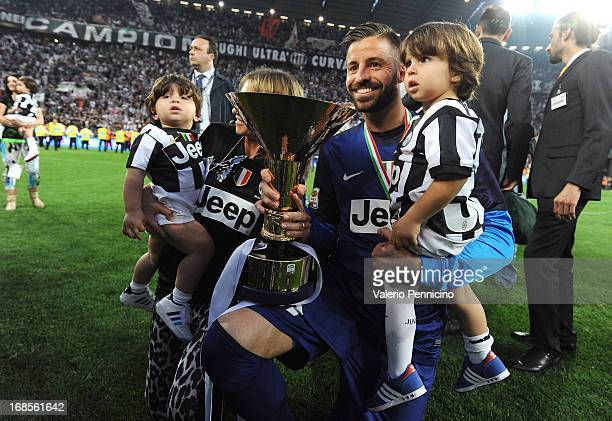 Marco Storari of Juventus FC celebrates with the Serie A trophy at the end of the Serie A match between Juventus and Cagliari Calcio at Juventus...