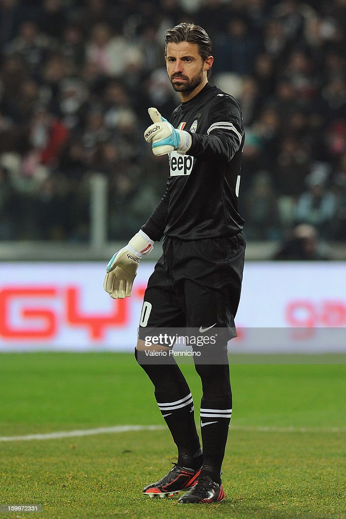Marco Storari of Juventus FC gestures during the TIM cup match between Juventus FC and S.S. Lazio at Juventus Arena on January 22, 2013 in Turin, Italy.