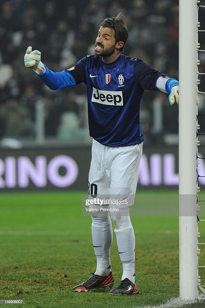 Marco Storari of Juventus FC issues instructions during the TIM cup match between Juventus FC and AC Milan at Juventus Arena on January 9, 2013 in Turin, Italy.