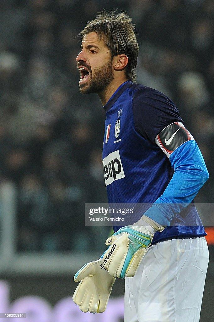 Marco Storari of Juventus FC reacts during the TIM cup match between Juventus FC and AC Milan at Juventus Arena on January 9, 2013 in Turin, Italy.