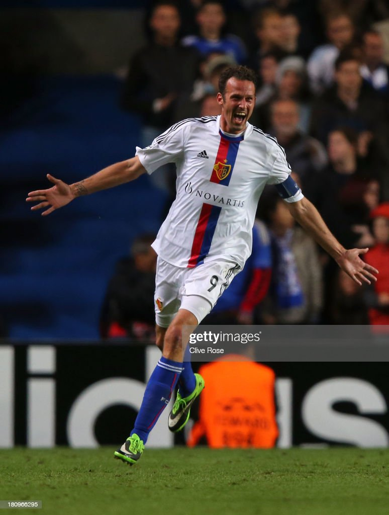 <a gi-track='captionPersonalityLinkClicked' href=/galleries/search?phrase=Marco+Streller&family=editorial&specificpeople=534494 ng-click='$event.stopPropagation()'>Marco Streller</a> of FC Basel celebrates scoring their second goal during the UEFA Champions League Group E Match between Chelsea and FC Basel at Stamford Bridge on September 18, 2013 in London, England.