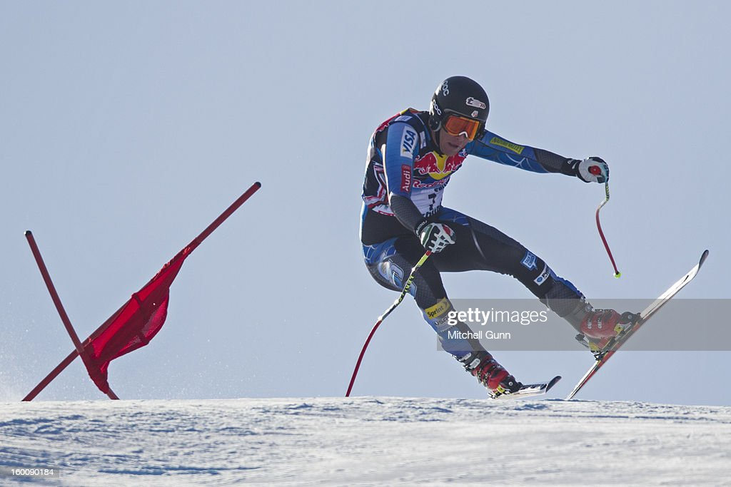 Marco Sullivan of USA races down the Hahnenkamm course during the Audi FIS Alpine Ski World Cup Downhill on January 26, 2013 in Kitzbuhel, Austria,