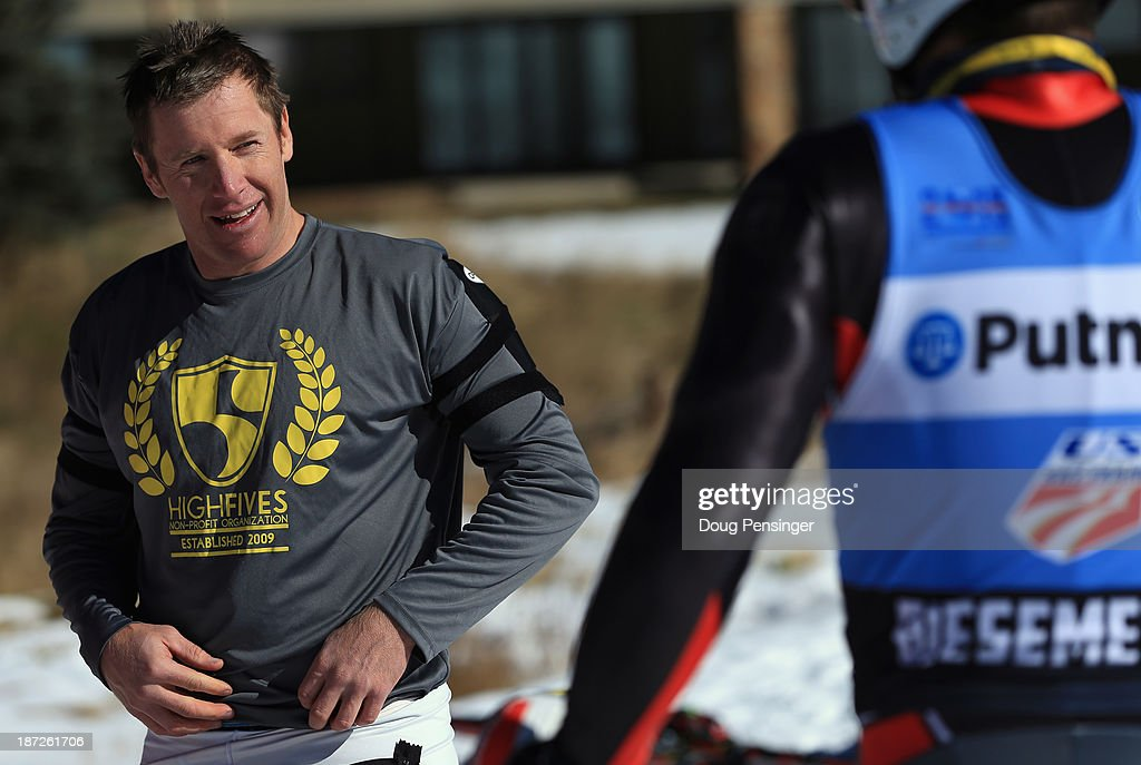 <a gi-track='captionPersonalityLinkClicked' href=/galleries/search?phrase=Marco+Sullivan&family=editorial&specificpeople=824240 ng-click='$event.stopPropagation()'>Marco Sullivan</a> (L) talks with Tommy Biesemeyer following downhill training at the U.S. Ski Team Speed Center at Copper Mountain on November 7, 2013 in Copper Mountain, Colorado.