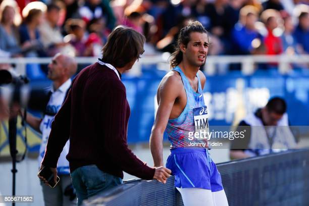 Marco Tamberi coach and Father talk with Gianmarco Tamberi of Italy High Jump during the Meeting de Paris of the IAAF Diamond League 2017 on July 1...
