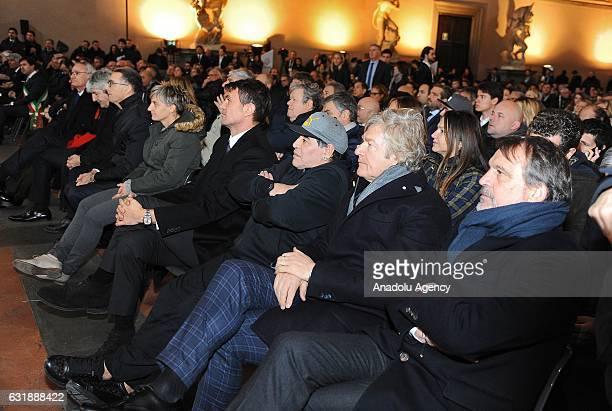 Marco Tardelli Giancarlo Antognoni Diego Armando Maradona Paolo Maldini participate the Italian Football Federation Hall of Fame ceremony at Palazzo...