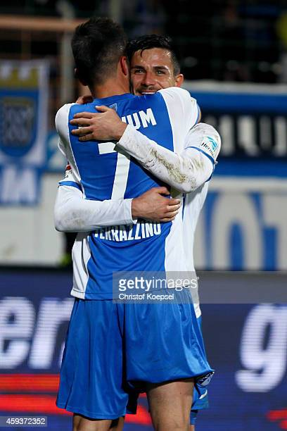 Marco Terrazzino of Bochum celebrates the third goal with Danny Latza during the Second Bundesliga match between VfL Bochum and VfR Aalen at...