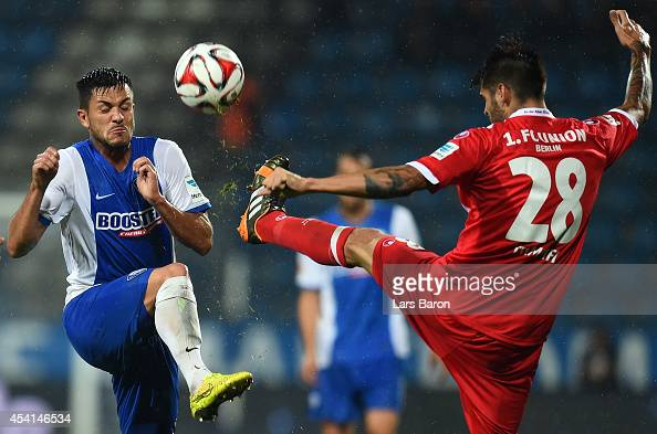 Marco Terrazzino of Bochum is challenged by Christopher Trimmel of Berlin during the Second Bundesliga match between VfL Bochum and 1 FC Union Berlin...
