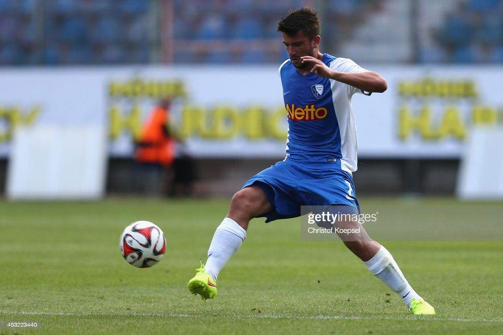 Marco Terrazzino of Bochum runs with the ball during the pre-season friendly match between VfL Bochum and FC Schalke 04 at Rewirpower Stadium on August 5, 2014 in Bochum, Germany.