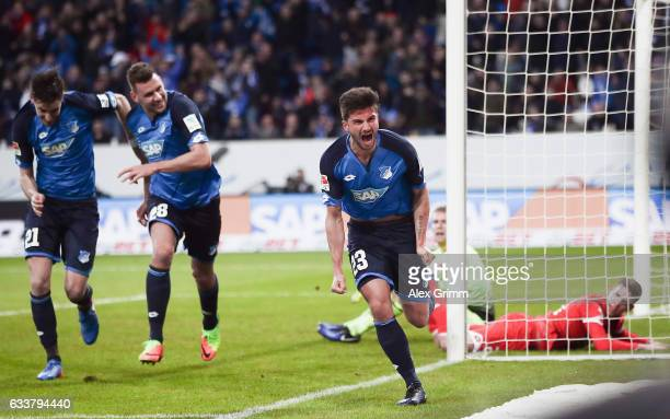 Marco Terrazzino of Hoffenheim celebrates his team's second goal during the Bundesliga match between TSG 1899 Hoffenheim and 1 FSV Mainz 05 at Wirsol...