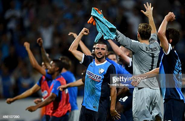 Marco Terrazzino of VfL Bochum celebrates with team mates after winning the Second Bundesliga match between VfL Bochum and 1860 Muenchen at...