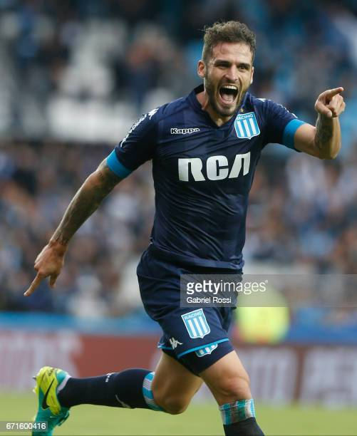 Marco Torsiglieri of Racing Club celebrates after scoring the fourth goal of his team during a match between Racing and Atletico de Tucuman as part...