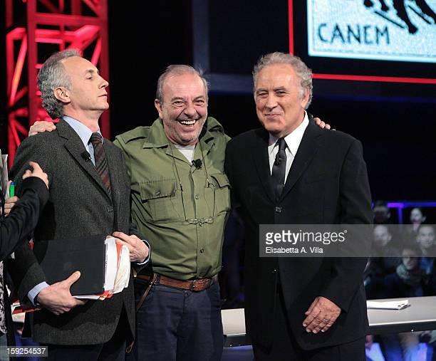 Marco Travaglio Vauro and Michele Santoro attend 'Servizio Pubblico' Italian TV Show at Cinecitta on January 10 2013 in Rome Italy