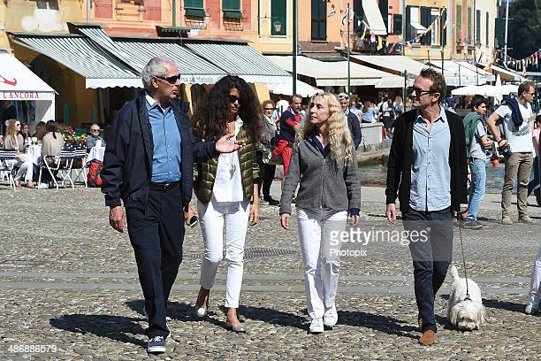 Marco Tronchetti Provera Afef Jnifen and Franca Sozzani are seen on April 26 2014 in Portofino Italy