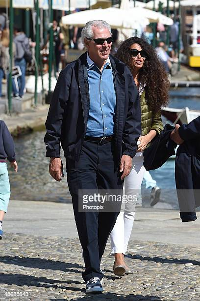 Marco Tronchetti Provera and Afef Jnifen are seen on April 26 2014 in Portofino Italy