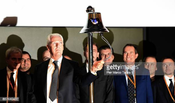 Marco Tronchetti Provera CEO of Pirelli rings the bell during the ceremony of the return of Pirelli to the Milan StockExchange on October 4 2017 in...