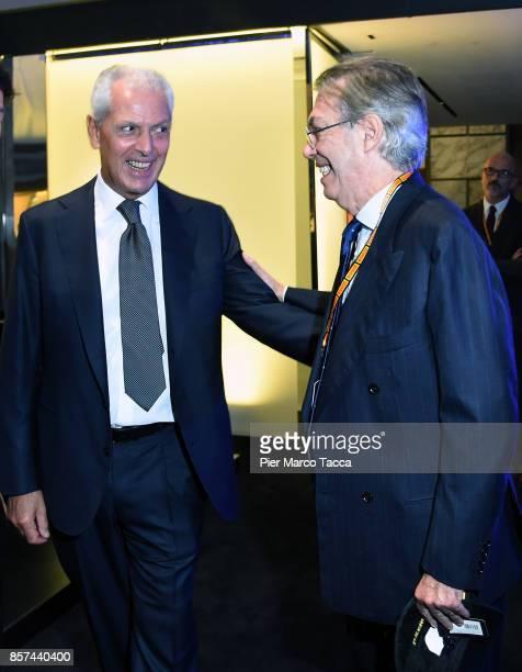 Marco Tronchetti Provero CEO of Pirelli and Massimo Moratti attend the ceremony of the return of Pirelli to the Milan StockExchange on October 4 2017...