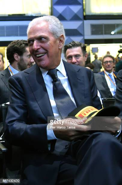Marco Tronchetti Provero CEO of Pirelli attends a ceremony announcing the return of Pirelli to the Milan StockExchange on October 4 2017 in Milan...
