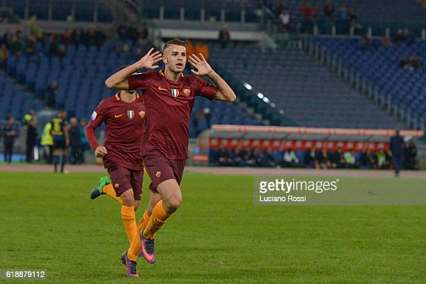MArco Tumminello of AS Roma celebrates after scoring a goal during the Primavera Supercup match between AS Roma and FC Internazionale at Olimpico...