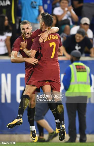 Marco Tumminello of AS Roma celebrates his goal with teammate Lorenzo Pellegrini during the International Champions Cup football match between...