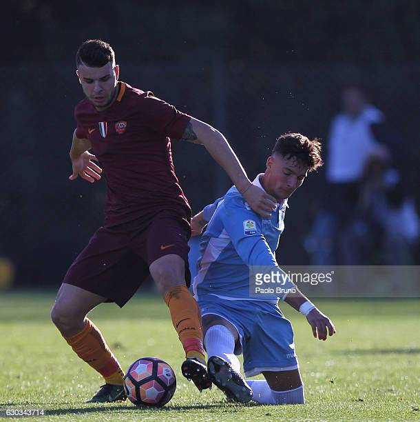 Marco Tumminello of AS Roma competes for the ball with Daniel Bezziccheri of SS Lazio during the Primavera Tim Cup juvenile match between AS Roma and...