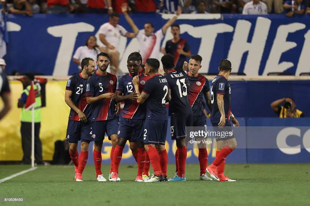 Marco Ureña of Costa Rica celebrates with teammates after scoring the first goal of his team during the Group A match between Honduras and Costa Rica as part of the Gold Cup 2017 at Red Bull Arena on July 07, 2017 in Harrison, New Jersey.