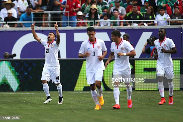Marco Urena of Costa Rica celebrates a goal during an international friendly soccer match between Mexico and Costa Rica at the Orlando Citrus Bowl on...