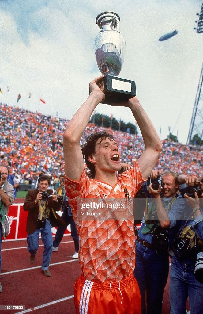 Marco van Basten celebrate after winning the European Championship final between Netherlands and USSR at the Olympia Stadium June 25 1988 in Munich...