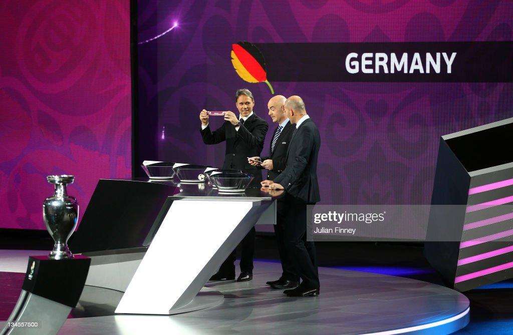 Marco Van Basten draws Germany during the UEFA EURO 2012 Final Draw Ceremony on December 2 2011 in Kiev Ukraine