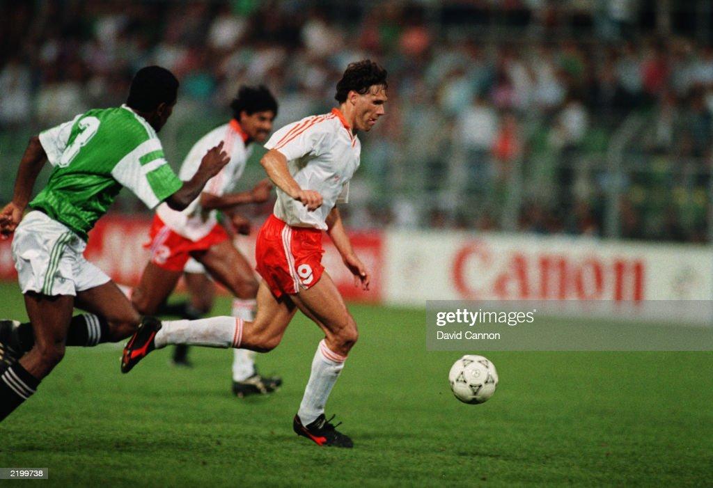 Marco van Basten of Holland runs with the ball during the FIFA World Cup Finals 1990 Group F match between Egypt and Holland held on June 12 1990 at...