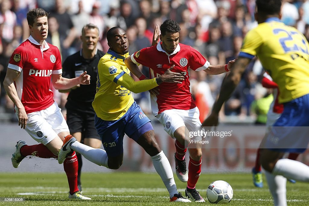 , Marco van Ginkel of PSV, Calvin Mac-Intosh of SC Cambuur, Adam Maher of PSV during the Dutch Eredivisie match between PSV Eindhoven and SC Cambuur Leeuwarden at the Phillips stadium on May 01, 2016 in Eindhoven, The Netherlands